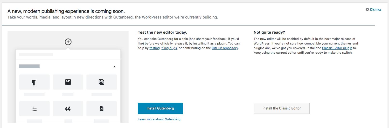 Gutenberg Project view in WordPress Dashboard